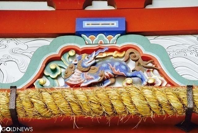 楼門の「獏」の彫刻