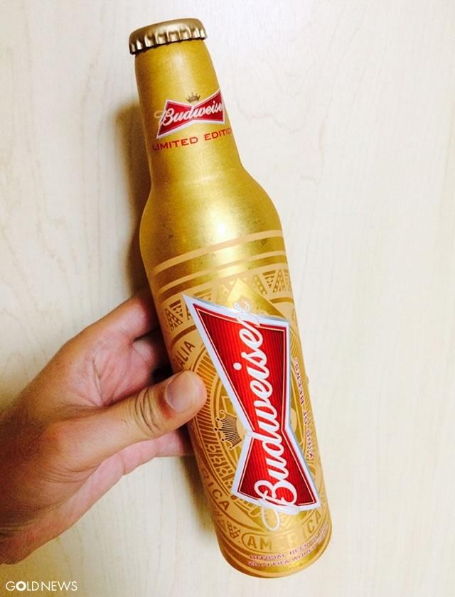 黄金のバドワイザーボトル